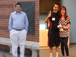 Left - Nov 2011. Right outside the gates of University of Florida in Gainesville, FL. Right - July 2016. At Weight Watchers store in Beaverton, OR with leader Kathy Cunningham.